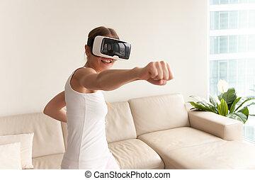 desgastar, jogo, boxe, realidade virtual, vr, menina,...