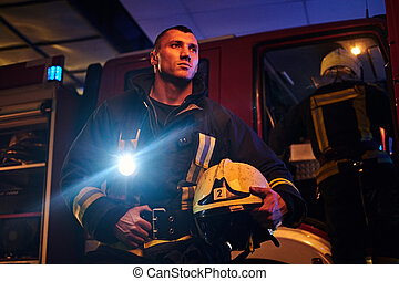 desgastar, lanterna, protetor, bombeiro, fogo, uniforme, chamada, came, included, brigada, night., bonito