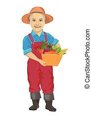 desgastar, legumes, idoso, cesta levando, fresco, overalls, macho, jardineiro