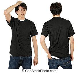 desgastar, macho, camisa preta, em branco