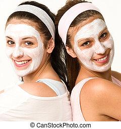 desgastar, meninas, máscara, facial, caucasiano, feliz