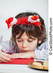 desgastar, menino, papai noel, carta escrevendo, headband