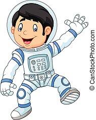 desgastar, menino, pequeno, astronau, caricatura