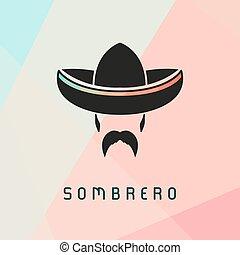 desgastar, mexicano, sombrero., homem