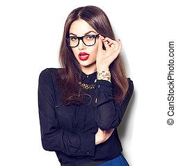 desgastar, moda, beleza, óculos, isolado, menina, fundo, excitado, branca, modelo