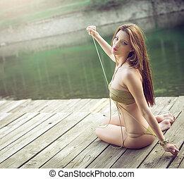desgastar, monokini., menina, lago