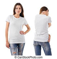 desgastar, morena, camisa, em branco, excitado, branca