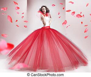 desgastar, morena, vestido, beleza, na moda