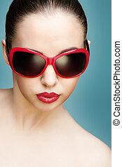 desgastar, mulher, óculos de sol, jovem
