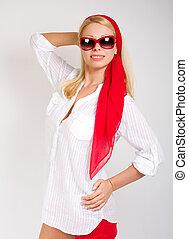 Desgastar, mulher, óculos de sol, moda, Retrato, excitado