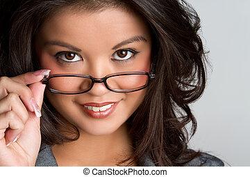 desgastar, mulher, óculos