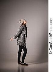 desgastar, mulher, agasalho, moda, posar, pretas, modelo, chapéu