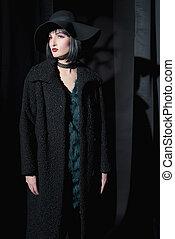 desgastar, mulher, agasalho, moda, pretas, hat., gótico