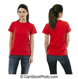 desgastar, mulher, camisa, morena, em branco, vermelho