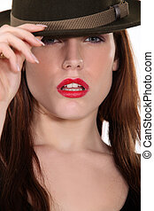 desgastar, mulher, chapéu, atraente