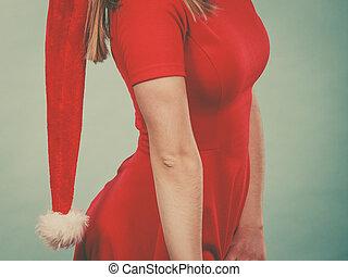 desgastar, mulher, chapéu, vestido, natal, vermelho