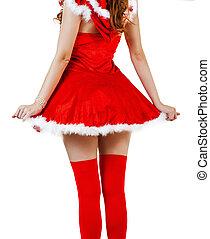 desgastar, mulher, claus, santa, vestido, natal, vermelho