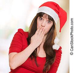 desgastar, mulher, dela, boca covering, chapéu, natal