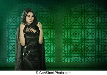 desgastar, mulher, feiticeira, asiático, pretas, traje
