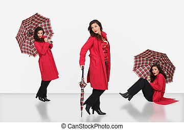 Desgastar, mulher, guarda-chuva