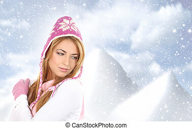 desgastar, mulher, inverno, jovem, atraente, vestido