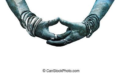 desgastar, mulher, ioga, lote, mudra, anéis, simbólico, mão, pulseiras, dobro, gesto, exposição