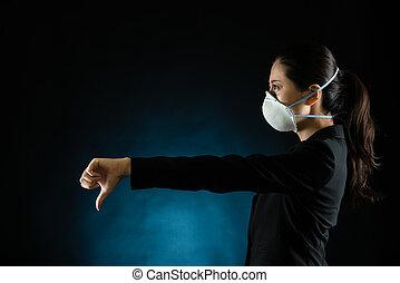 desgastar, mulher, máscara, jovem, negócio