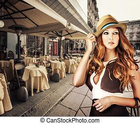 desgastar, mulher, moda, retrato, chapéu, voga