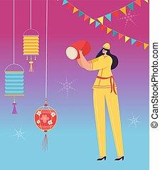 desgastar, mulher, parada, chinês, dança, personagem, carnival., ilustração, dragão, tradicional, celebrando, leão, vetorial, year., lunar, novo, china, baterista, ou, traje