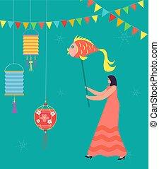 desgastar, mulher, parada, chinês, dança, personagem, carnival., ilustração, dragão, tradicional, celebrando, leão, vetorial, year., lunar, novo, china, ou, traje