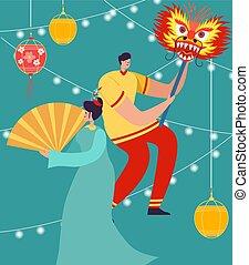desgastar, mulher, parada, chinês, pessoas, dança, year., ilustração, carnival., tradicional, celebrando, leão, vetorial, china, traje, caráteres, dragão, homem novo, ou, lunar
