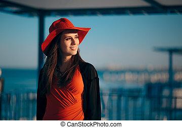 desgastar, mulher, sol, quimono, moda, chapéu praia