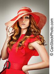 desgastar, mulher, vestido, chapéu, vermelho, voga