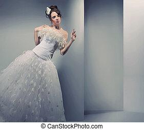 desgastar, mulher, vestido, jovem, casório
