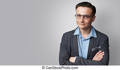 desgastar, na moda, jacket., isolado, homem, bonito, óculos