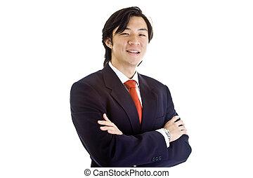 desgastar, negócio, confiante, pose, isolado, enquanto, experiência., suit., asiático, branca, homem