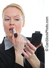 desgastar, negócio mulher, atraente, loura, paleto
