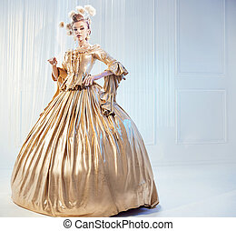 desgastar, nobre, mulher, vestido, dourado, vitoriano, retrato