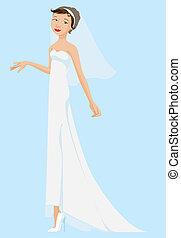 desgastar, noiva, branca, véu, vestido
