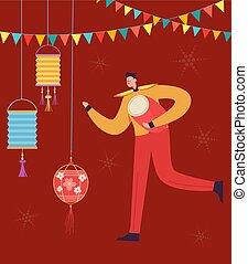 desgastar, parada, chinês, dança, personagem, carnival., ilustração, dragão, tradicional, celebrando, leão, vetorial, year., traje, novo, china, baterista, homem, ou, lunar