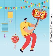 desgastar, parada, chinês, dança, personagem, carnival., ilustração, dragão, tradicional, celebrando, leão, vetorial, year., traje, novo, china, homem, ou, lunar