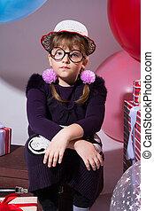 desgastar, pensativo, estranho, adolescente, chapéu, óculos