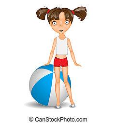 desgastar, pequeno, bola, shorts, t-shirt, menina