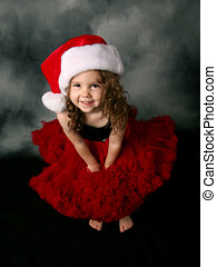 desgastar, pequeno, pettiskirt, santa, menina, chapéu, natal, vermelho