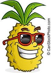 desgastar, personagem, óculos de sol, caricatura, abacaxi