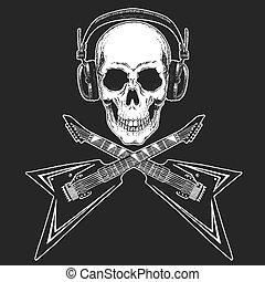 desgastar, pesado, t-shirt., estrela, cranio, cartaz, festival., fones, metal, guitar., música, rocha, impressão, elétrico, fresco, partido., rock-n-roll, bandeira