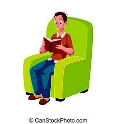 desgastar, poltrona, sentando, jovem, confortável, livro, leitura, chinelos, homem