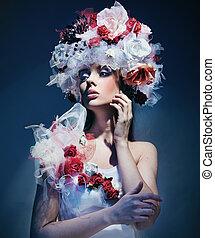 desgastar, primavera, mulher, vestido, jovem