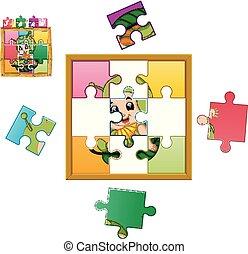 desgastar, quebra-cabeça, jigsaw, lagarta, jogo, traje, animal, educação, criança