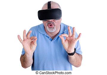 desgastar, realidade virtual, branca, óculos, homem